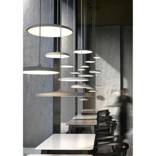 Suspension Artist 40 éclairage LED intégré métal beige et verre opalin
