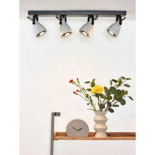 Plafonnier Concri-LED barre 4 spots métal noir mat et béton gris