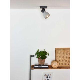Spot plafond Concri-LED métal noir mat et béton gris
