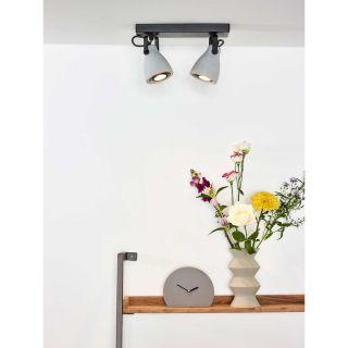 Plafonnier Concri-LED 2 spots métal noir mat et béton gris