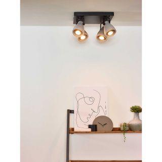 Plafonnier Concri-LED 4 spots métal noir mat et béton gris