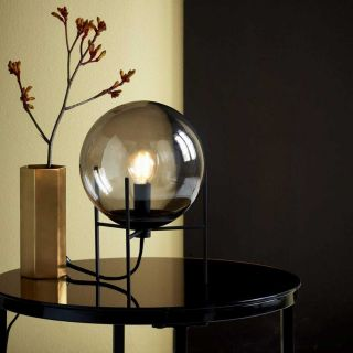 Lampe de table Alton métal et verre fumé d.29 cm