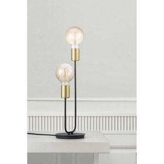 Lampe de table Josefine 2 lumières noir et laiton