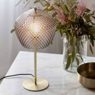 Lampe de table Orbiform verrerie et laiton d.23 cm