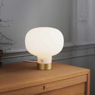 Lampe de table Raito métal et verre opalin d.20 cm