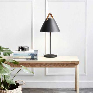 Lampe de table Strap métal noir et cuir d.16,5 cm