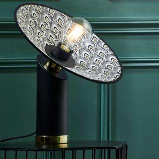 Lampe de table Gatsby métal et motif Paon d.32 cm