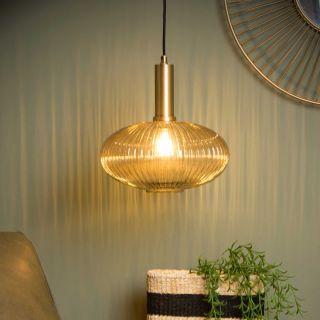 Suspension Maloto verre ambre et métal doré mat d.30 cm