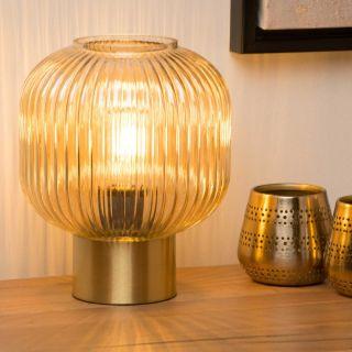 Lampe de table Maloto verre ambre et métal doré mat d.20 cm