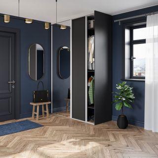 Dressing sur mesure d'entrée avec portes coulissantes miroir couleur noir de style art déco
