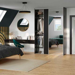 Dressing sur mesure avec portes coulissantes miroir couleur noir élégant style art déco