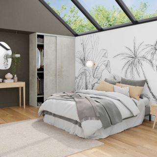 Dressing sur mesure avec portes coulissantes couleur gris clair et blanc mat de style nature végétale