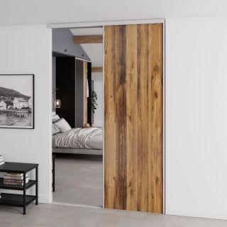 Dressing sur mesure avec portes coulissantes miroir couleur bois de style rustique
