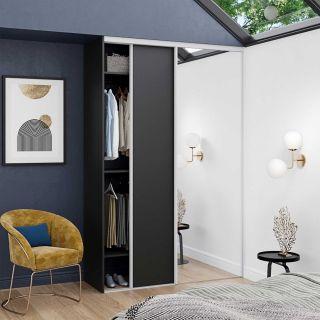Dressing sur mesure avec portes coulissantes miroir couleur noir de style art déco