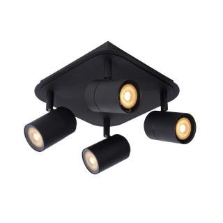luminaire lucide plafonnier salle de bains lennert 4 spots métal noir mat 11030004 détail 1