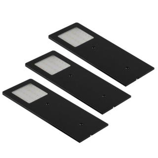Lot de 3 appliques LED extra-plates noir brossé