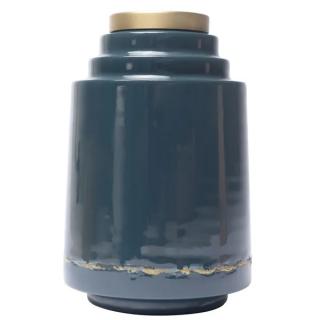 Vase Olia en fer émaillé bleu de cobalt détail doré