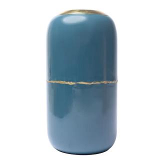 Vase Olia en fer émaillé bleu détail doré