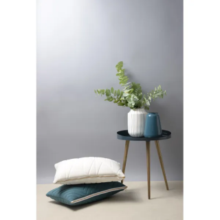 Vase Fynn en fer émaillé blanc rayé bleu
