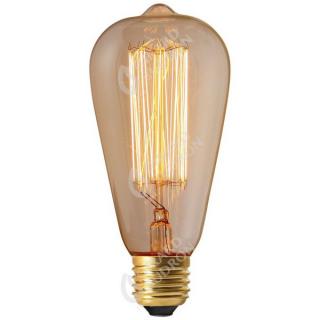 Ampoule Edison ambre à filament métallique droit E27 24W