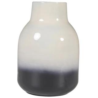 Vase Haley en fer émaillé bicolore blanc et noir