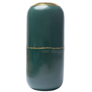 Vase Olia en fer émaillé bleu canard détail doré