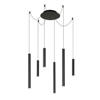 luminaire lucide lustre lorenz 6 led intégrées aluminium noir mat 11010004 principale