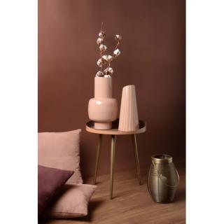 Vase Fynn en fer émaillé rose poudré rayé blanc