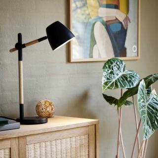 Lampe de table Theo métal noir et bois FSC