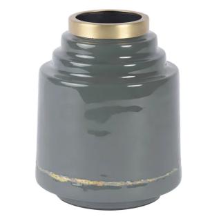 Vase Olia en fer émaillé gris détail doré