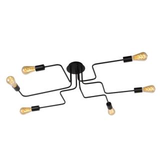 Plafonnier Lester 6 ampoules métal noir
