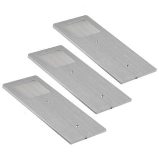 Lot de 3 appliques LED extra-plates inox brossé
