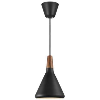 Suspension Nori 18 métal noir et bois FSC d.18 cm