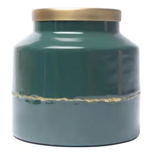 Vase Olia en fer émaillé bleu pétrol détail doré