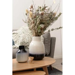 Vase Haley en fer émaillé bicolore noir et blanc