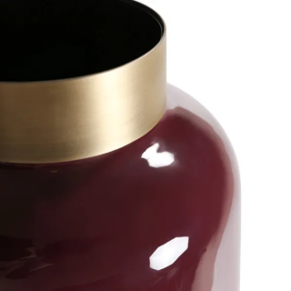 Vase Olia en fer émaillé bordeaux détail doré