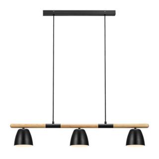 Lustre Theo 3 éclairages en métal noir et bois FSC