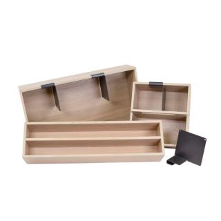 Set de 3 boîtes de rangement en bois pour casserolier Schmidt