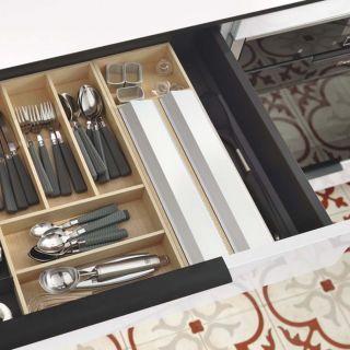 Range-couverts bois modulable avec dérouleur papier alu et film alimentaire 8 éléments pour tiroir Schmidt