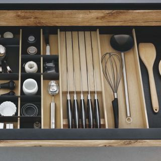 Range-couverts bois modulable avec range-couteaux 10 éléments pour tiroir Schmidt grande profondeur