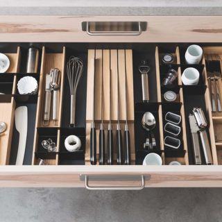 Range-couverts bois modulable avec range-couteaux 4 éléments pour tiroir Schmidt