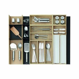 Range-couverts bois modulable avec dérouleur papier alu et film alimentaire 6 éléments pour tiroir Schmidt grande profondeur