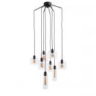 luminaire market set suspension ilo ilo 8 abat jours verre et métal noir 11010011 détail 1