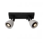 luminaire lucide plafonnier concri led 2 spots métal noir mat et béton gris 11030006 principale