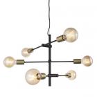 luminaire nordlux suspension josefine 6 lumières métal noir mat et laiton 11010034 principale