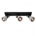 luminaire lucide plafonnier concri led barre 3 spots métal noir mat et béton gris 11030007 principale
